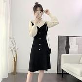 襯衫裙 配大衣的毛衣裙中長款洋氣針織裙子女秋冬修身過膝內搭打底洋裝-Milano米蘭
