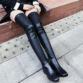 大腿靴70cm過膝長靴女2019冬季超長統中跟彈力靴粗跟加絨皮靴60『櫻花小屋』