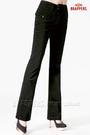 BRAPPERS 女款 新美尻二代系列-中腰條絨彈性大喇叭褲-黑
