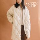 Queen Shop【02090015】基本百搭素色菱格鋪棉長版外套 兩色售*現+預*