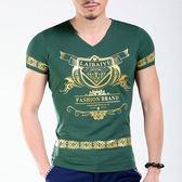 短袖T恤男 韓版潮流 休閒上衣 夏季短袖修身T恤 燙金緊身半袖上衣wx3343