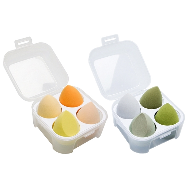 雞蛋盒水滴型美妝蛋(4入套組) 款式可選【小三美日】粉撲 樣式隨機出貨