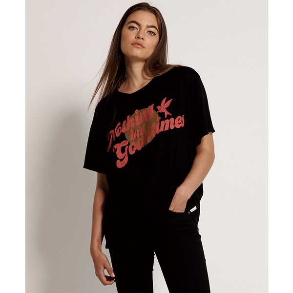 ONETEASPOON WW NOTHING BUT GOOD TIMES BOYFRIEND TEE T恤-黑(女)