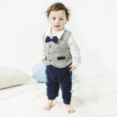 紳士西裝長袖兔子裝 灰背心藍口袋    婚宴花童連身衣(嬰幼兒/baby/新生兒)