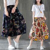2019年春夏季女裝新款棉麻民族風大碼燈籠褲闊腿鬆緊腰七分褲