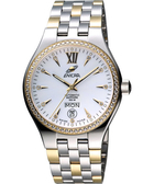 ENICAR 英納格 傳真系列時尚晶鑽機械腕錶-白x雙色版 3168-50-316GS