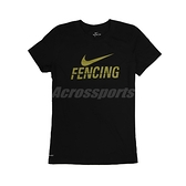 Nike 短袖T恤 W Fencing Tee 黑 金 女款 短T 擊劍 運動休閒 【ACS】 561423010F-E70