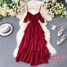 度假風洋裝 2020新款度假風連身裙子仙女超仙森系甜美荷葉邊露肩吊帶雪紡長裙 5色