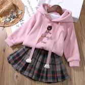 女童秋裝套裝新款韓版兒童衛衣女孩洋氣網紅時尚加絨冬時髦潮  俏女孩