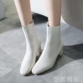 白色小短靴女春秋新款中筒靴方頭單靴粗跟馬丁靴側拉錬女靴子 可然精品