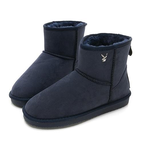 PLAYBOY 陽光雪戀 皇冠織標短筒雪靴-藍