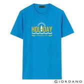 【GIORDANO】男裝夏日休閒印花T恤-56 鮮藍