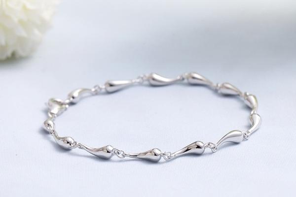 925純銀 小水滴水珠手鍊-銀 防抗過敏 不退色