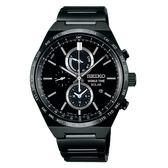 SEIKO SPIRIT簡約率性太陽能計時腕錶/黑鋼/V195-0AE0SD
