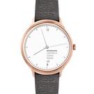 玫瑰金髮絲紋錶殼,泥炭灰真皮錶帶 防眩光鍍膜藍寶石水晶鏡面 氣質美女必敗單品 全球限量發售