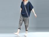 原創大碼女裝微胖mm遮肚上衣v領夏季韓版200斤洋氣寬松短袖T恤衫