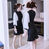 VK旗艦店 韓國風簡約氣質豎條紋拼接包臀裙長袖洋裝