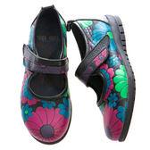 (橡膠底)娃娃鞋/舒適內裡-THE ONE 手工氣墊鞋 (全牛皮)-V11607 黑紅花