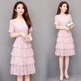 蕾絲洋裝 連身裙韓版蛋糕裙中長款高腰顯瘦減齡過膝裙子 巴黎春天