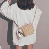 草編小包包女天森系編織絲巾仙女水桶包少女斜挎沙灘包   極有家