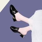 拖鞋女2021新款軟皮涼拖鞋粗跟中跟包頭半拖懶人鞋外穿時尚百搭 快速出貨