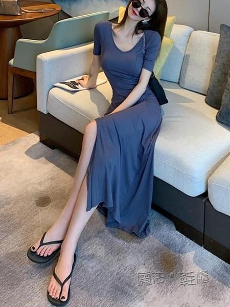短袖長裙女夏韓國修身緊身性感V領莫代爾連身裙開叉露腿度假休閒 魔法鞋櫃