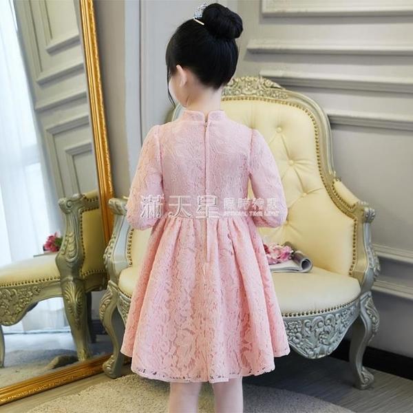 女童洋裝秋冬公主裙兒童秋裝小女孩唐裝洋氣紅裙子加絨長袖冬裙 滿天星