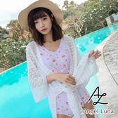 比基尼泳裝-日本品牌AngelLuna 日本直送 粉色印花連身OnePiece一件式溫泉沙灘泳衣-附白外套