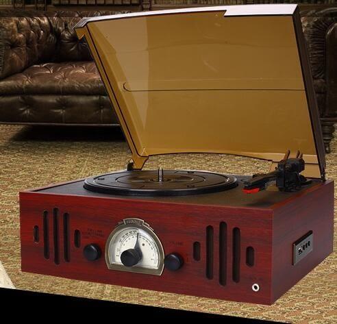 食尚玩家 黑膠唱片機老式LP留聲機仿古電唱機/收音機/U盤特價