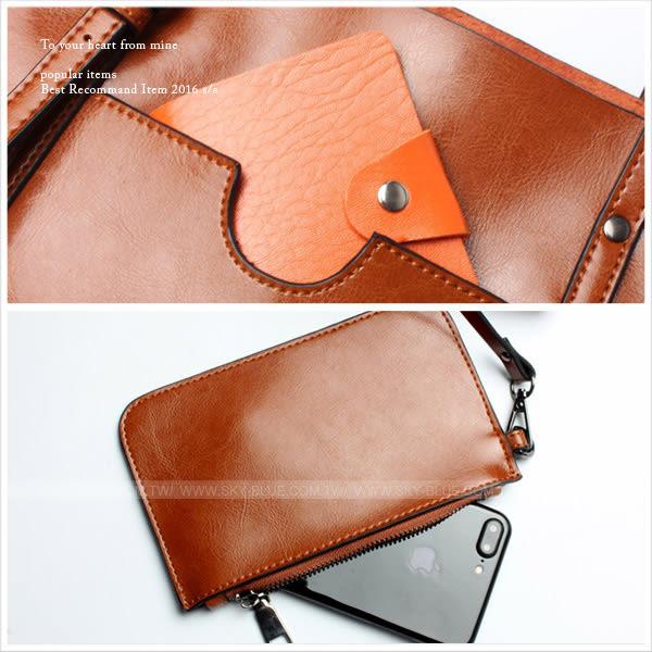 手提包-真皮質感雙肩帶大側背包-共5色-A15152028-天藍小舖