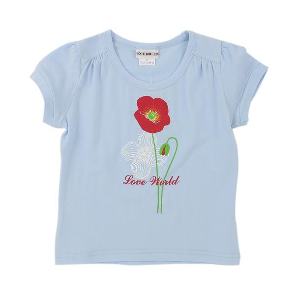 【愛的世界】彈性圓領罌粟花印圖短袖T恤-藍/4歲-台灣製- --春夏上著 夏出清