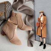 丁果、大尺碼女鞋34-46►絨皮粗跟短靴*4色