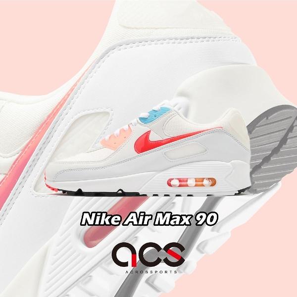 Nike 休閒鞋 Air Max 90 米白 桃紅 藍 氣墊 男鞋 女鞋 手繪風格 復古慢跑鞋 【ACS】 DD8496-161