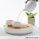 快客杯功夫茶具一壺兩杯竹制乾泡茶盤套裝日式整套旅行辦公陶瓷茶壺茶杯 雙十二 免運