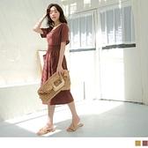 《DA7766-》純色雪紡V領鬆緊收腰大口袋傘襬洋裝 OB嚴選
