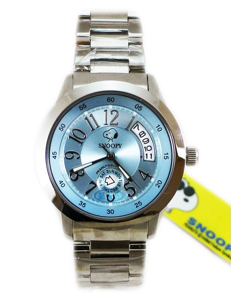 【卡漫城】 出清 Snoopy 手錶 水藍 ㊣版 男錶 女錶 史努比 星期日期功能 史奴比 中性錶 不鏽鋼