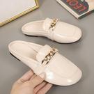 歐洲站2021夏季新款女鞋方頭懶人穆勒鞋平底漆皮包頭半拖外穿拖鞋 快速出貨