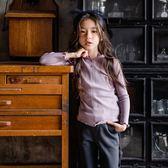 女童長袖內搭衣          打底衫女童公主木耳邊上衣T恤衫韓版中大童純色內搭 宜室家居