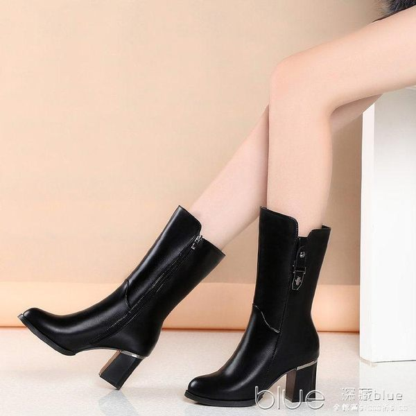 秋季歐美百搭中筒靴高跟女靴馬丁靴圓頭側拉鍊顯瘦短靴女 深藏blue