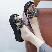 增高涼鞋 拖鞋女夏外穿新款鬆糕厚底厚底楔形涼鞋增高高跟涼拖風-Ballet朵朵