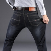 牛仔褲 夏季彈力牛仔褲男潮牌直筒寬鬆大碼休閑男褲韓版潮流修身薄款長褲