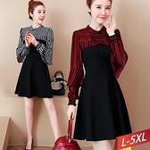 圓領條紋荷葉袖拼接洋裝(2色) L~5XL【134207W】【現+預】-流行前線-
