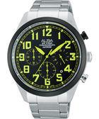ALBA 雅柏 街頭玩酷時尚三眼計時手錶-黑x綠時標 VD53-X170G(AT3595X1)