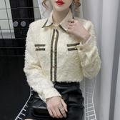 長袖襯衫~歐洲站雪紡鉤花洋氣打底衫女加絨加厚修身顯瘦襯衫T214A莎菲娜