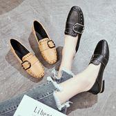 兩穿豆豆鞋女新款韓版百搭英倫風女鞋復古方頭粗跟單鞋子  卡布奇諾