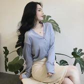春裝2018新款女正韓新款淡色v領上衣氣質修身顯瘦單排扣長袖襯衣