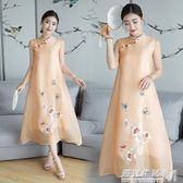 春夏新款復古中式真絲歐根紗刺繡無袖寬鬆大碼改良旗袍連身裙  遇見生活