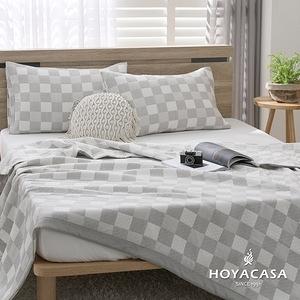 【HOYACASA灰白格】純棉三層紗親膚透涼被-單人150x200