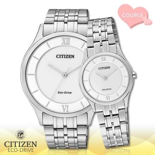 CITIZEN 星辰 手錶專賣店AR0070-51A+EG3220-58A 對錶 Eco-Drive光動能 日系 不鏽鋼錶殼錶帶 白面