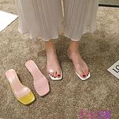 拖鞋女外穿2021年新款夏時尚高跟鞋ins潮中跟透明夏天涼拖鞋夏季超級品牌【公主日記】